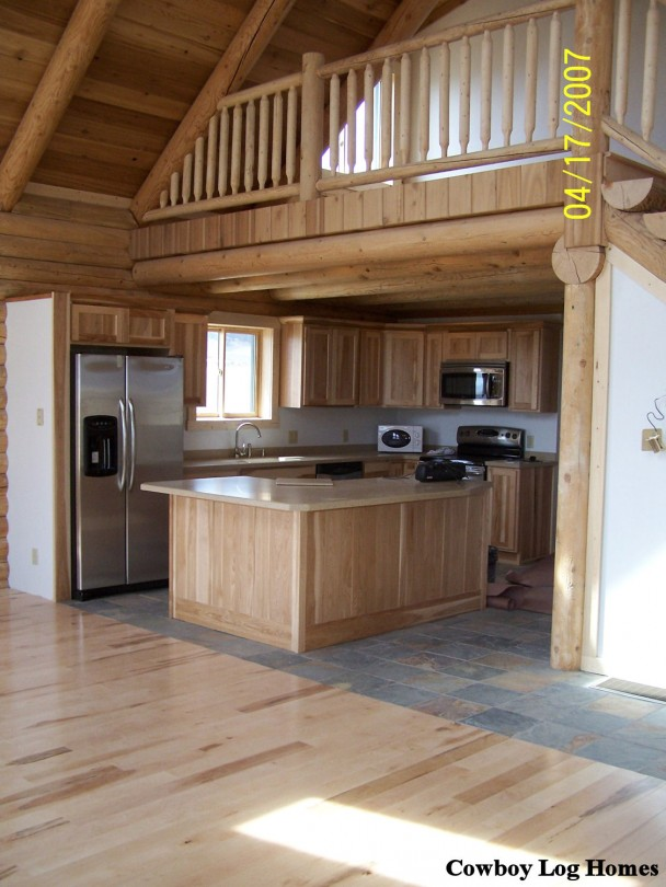 Log Cabin Loft And Kitchen Cowboy Log Homes