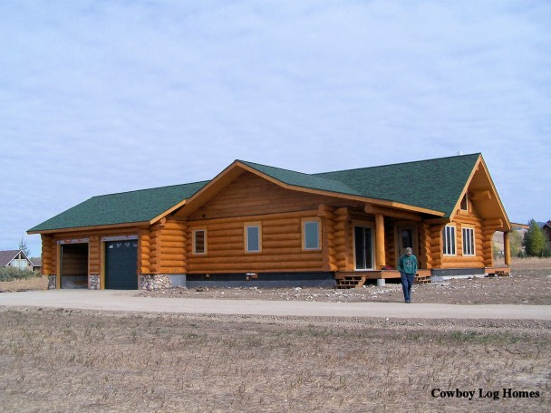 Handcrafted Log Home With Attached Garage Cowboy Log Homes