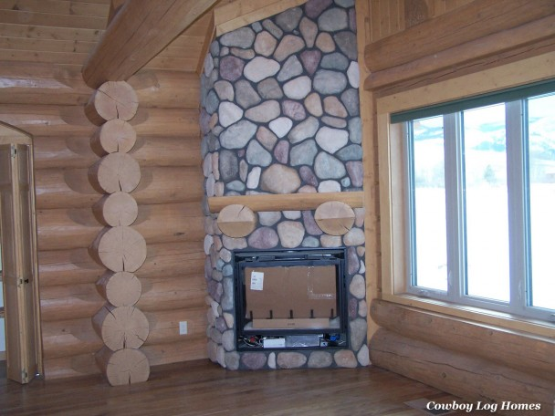 Douglas Fir Timber Mantle and Stone Fireplace