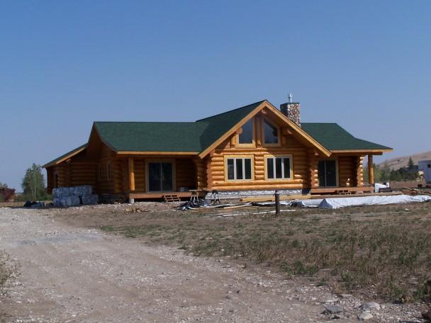View Side of Douglas Fir Log Home