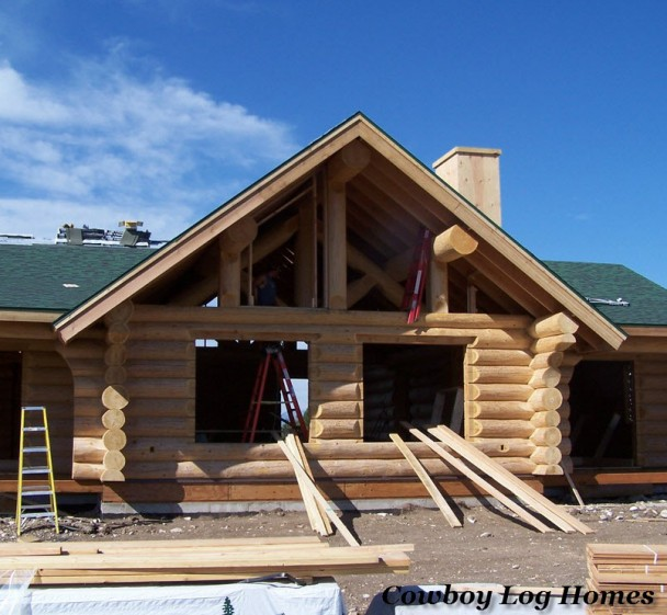 Handcrafted Log Home Gable End
