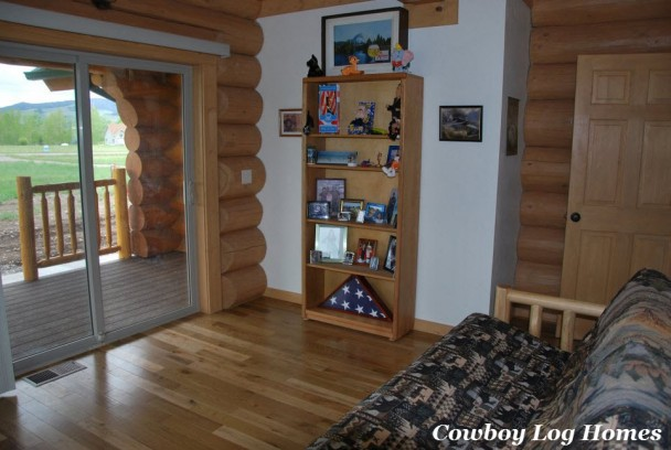 Den in Handcrafted Log Home