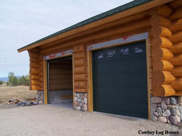 Building of Handcrafted Log Home Garage