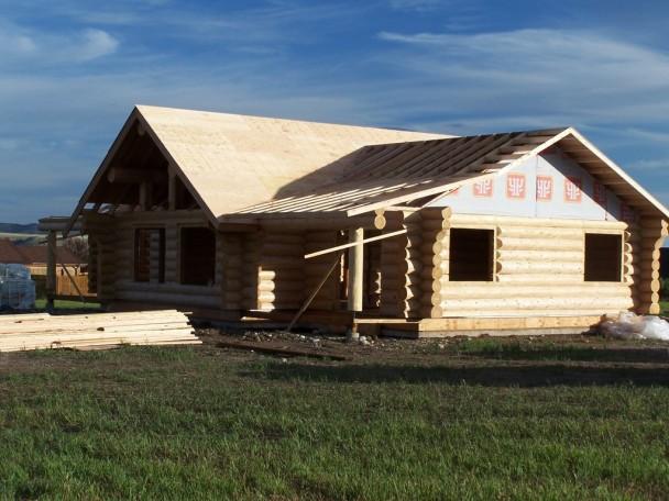 Douglas Fir Log Home Under Construction