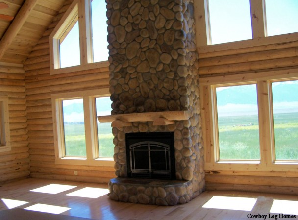Stone Fireplace in Open Log Home Plan