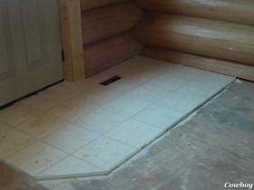 Ceramic Tile in Log Home