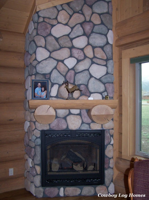Fireplace with Log Mantle to Match Log Home Walls