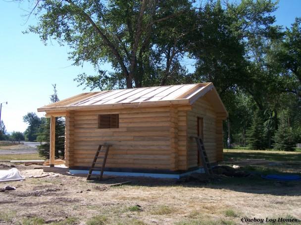 Log Home Under Construction Near Missoula Montana