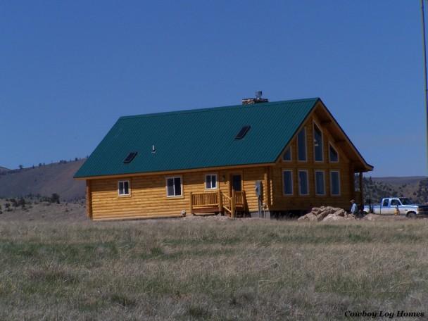 Log Deck on Log Home with Prow