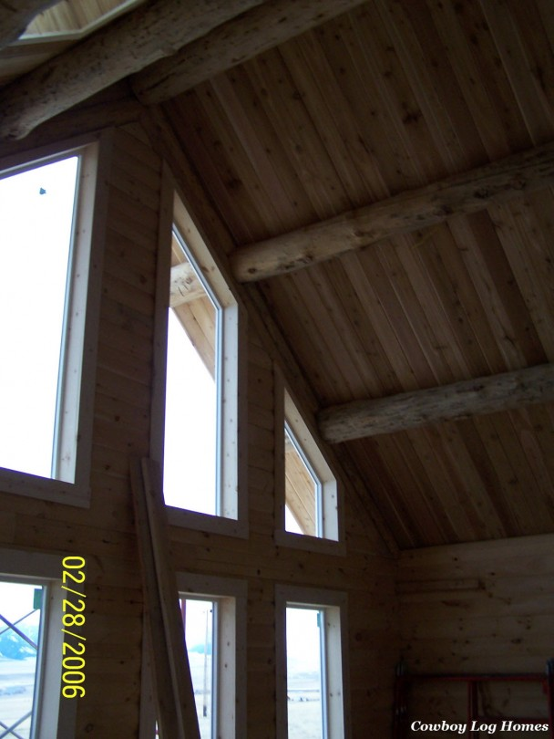 Milled Log Home Under Construction