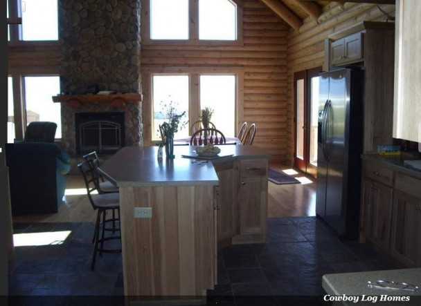 Log Home Dining and Kitchen
