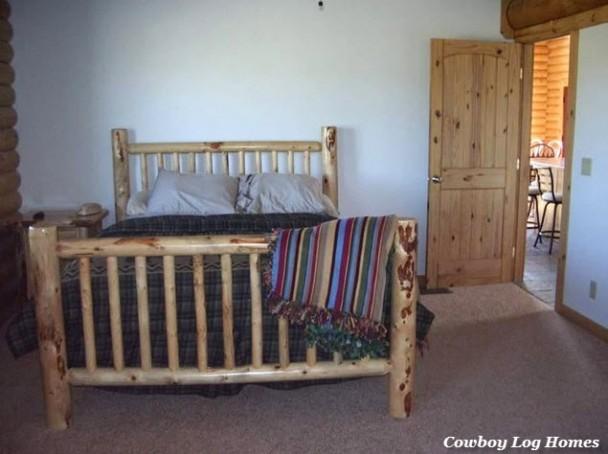 Log Bed in Swedish Cope Log Home