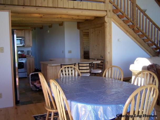 Log Home with Log Staircase