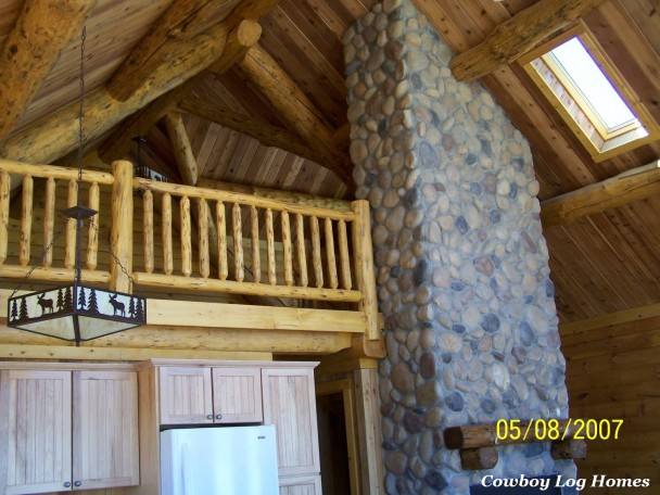 Great Room and Loft of Log Home