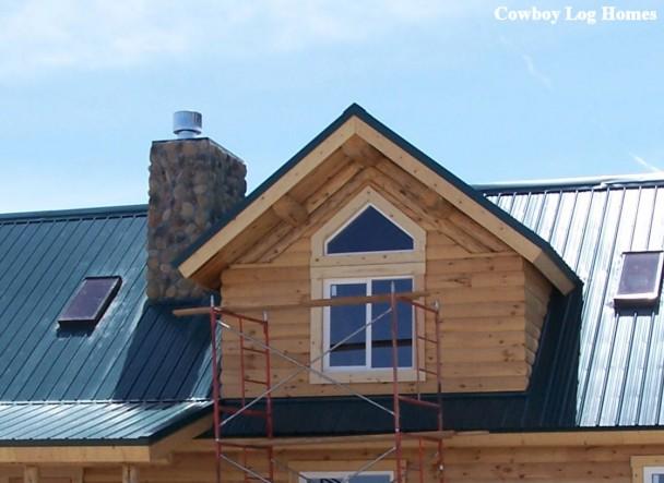 Gable Dormer with Skylighting on Log Home