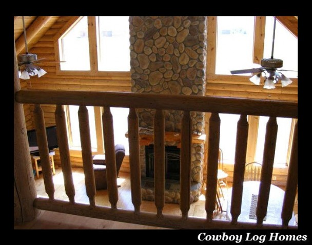 Great Room of Log Home From Loft