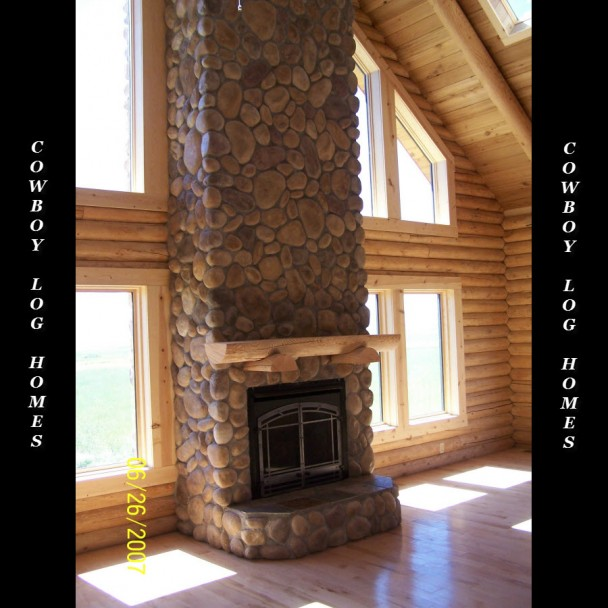 22 Foot Tall Stone Fireplace in Log Home