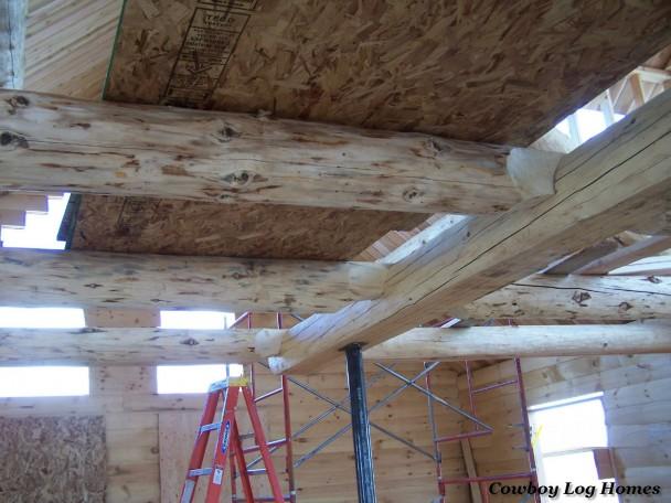 Handcrafted Log Loft Floor Joists for Log Homes
