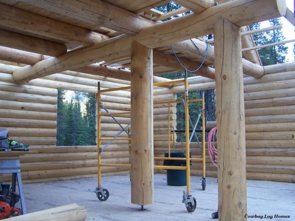Round Log Support Posts on Settle Jacks