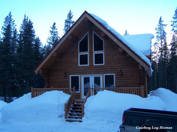 Swedish Cope Log Home in the Snow