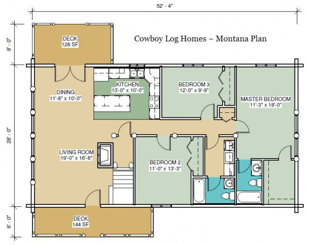 montana log home first floor plan