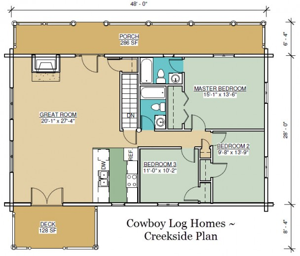 creekside log home floor plan