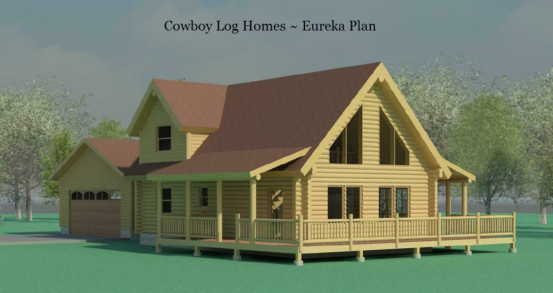 eureka log home elevaton Luxury Log Homes