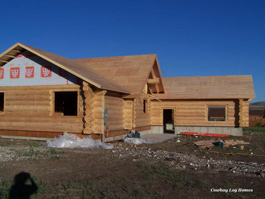july 17th log home rear sheathed