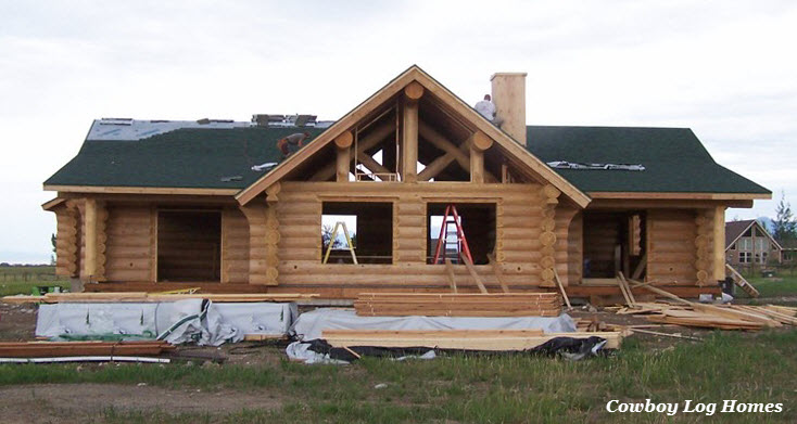 july 20th front of log home straight on