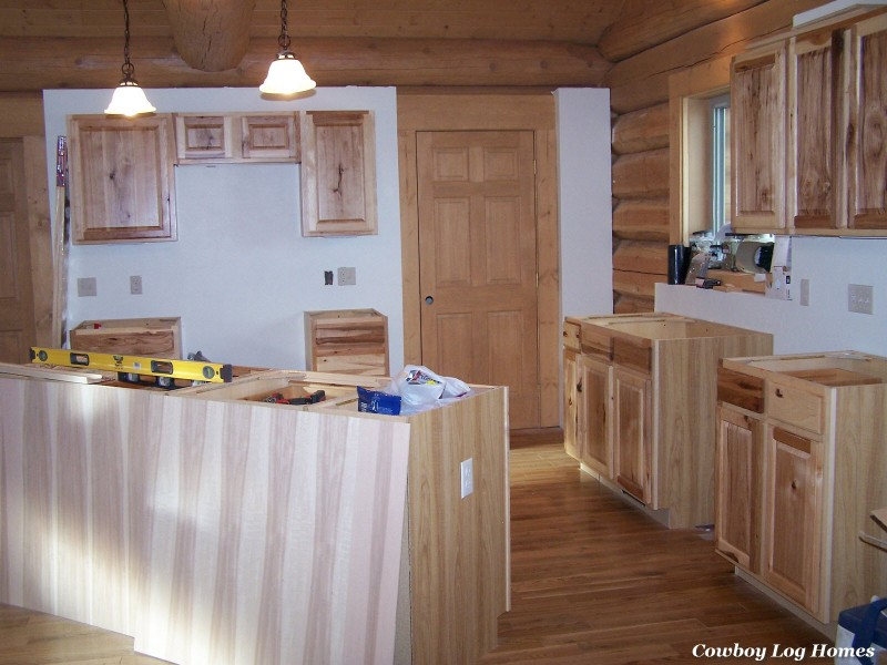 november 1st kitchen cabinets in log home