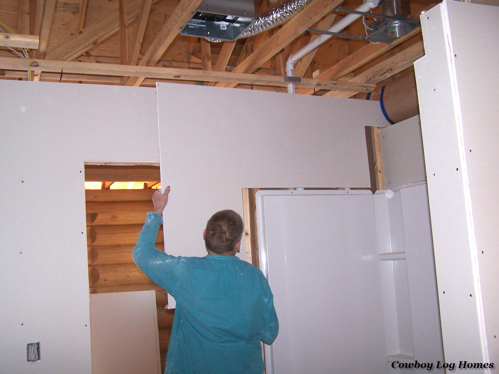 Sept 20th Drywall Hanging Log Home
