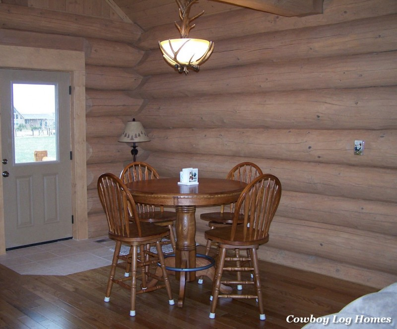 april 20th dining area of log home