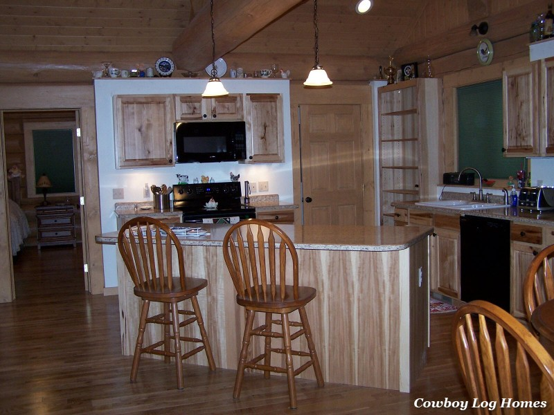 april 20th kitchen of log home