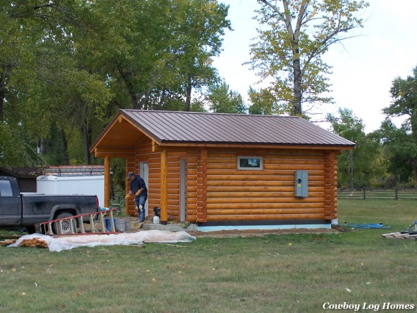 single level log cabin
