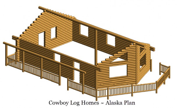 alaska log home plan log shell
