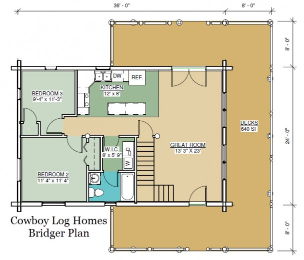 bridger log home first floor plan