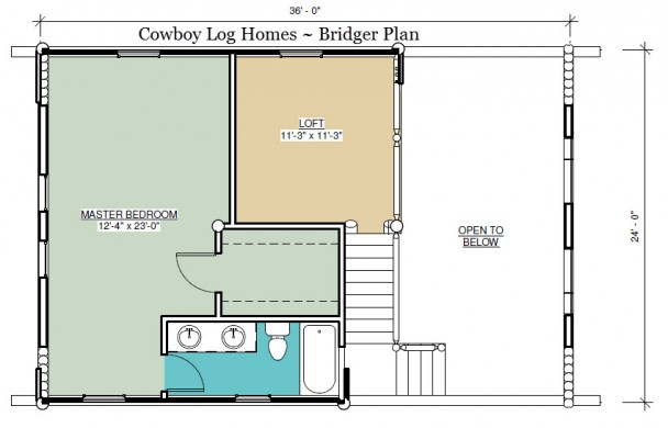 bridger log home plan loft