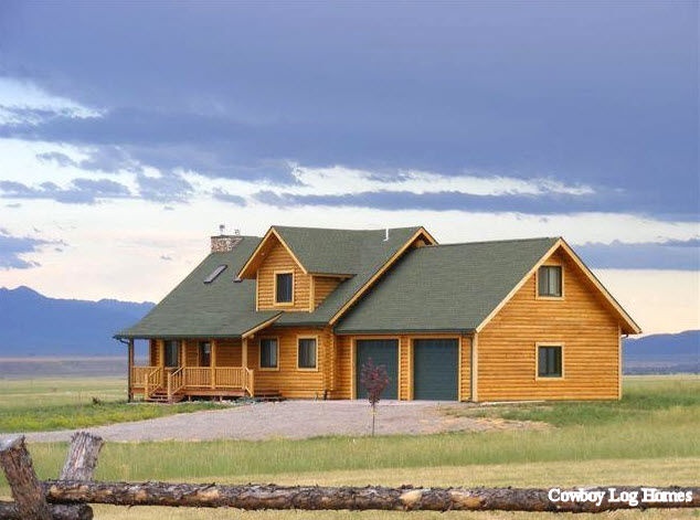 Virginia city plan 2 616 sq ft cowboy log homes for Montana home builders