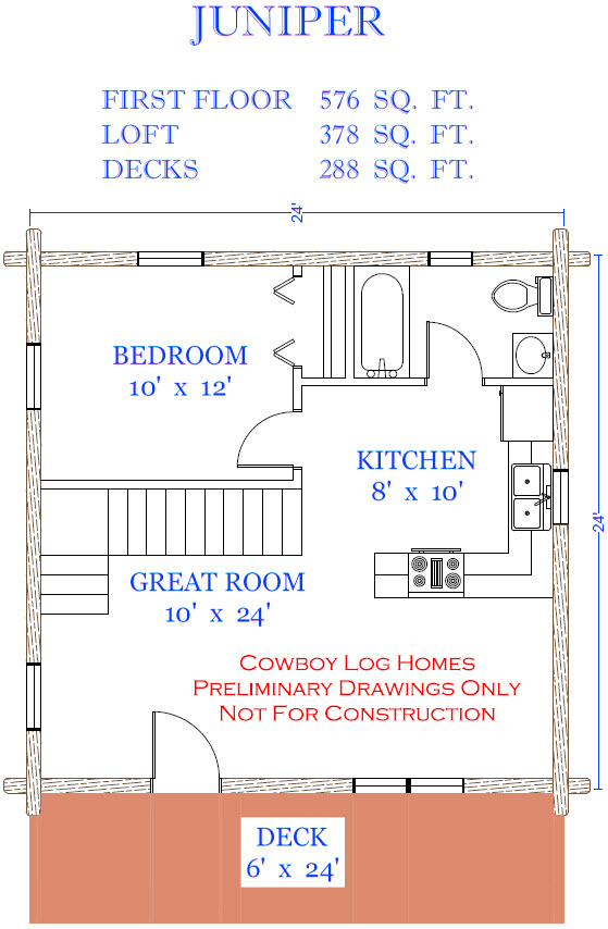 Juniper plan 954 sq ft cowboy log homes for Juniper floor plan