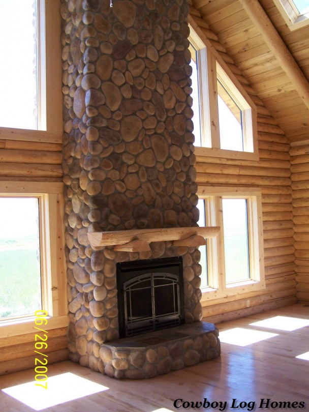 log homes stone fireplace
