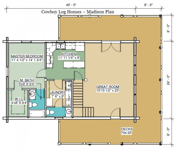 madison log home plan first floor