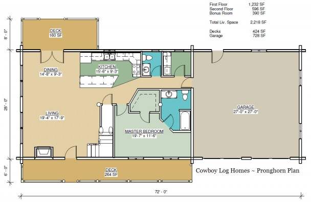 pronghorn log home first floor plan