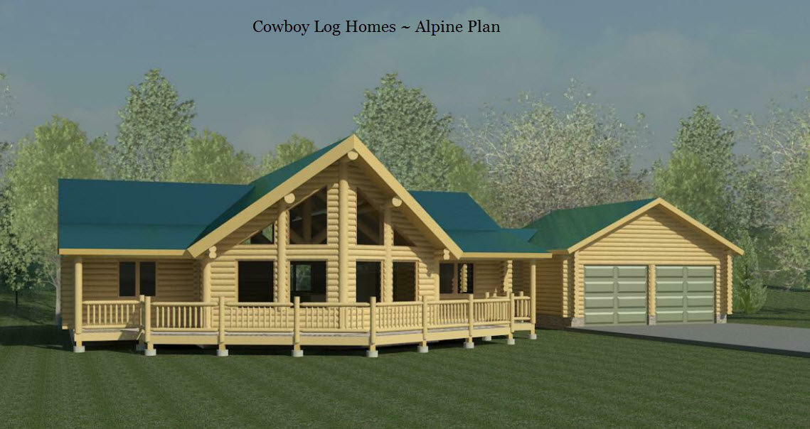 Alpine plan 1 743 sq ft cowboy log homes for Prow front home plans