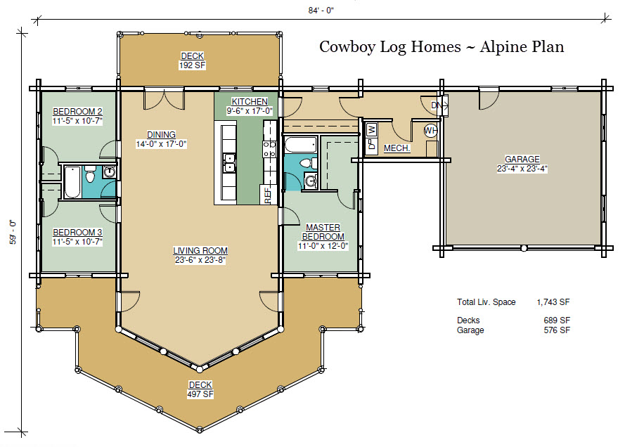 Alpine plan 1 743 sq ft cowboy log homes for Alpine house plans