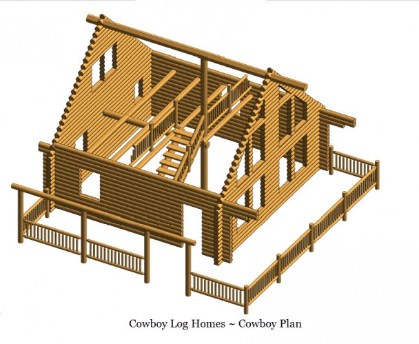 Cowboy plan 866 sq ft cowboy log homes for Cost to build a 576 sq ft house