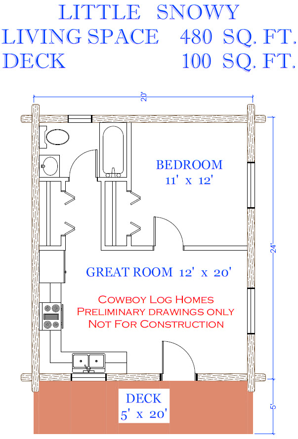 Little snowy plan 480 sq ft cowboy log homes for Square log cabin plans