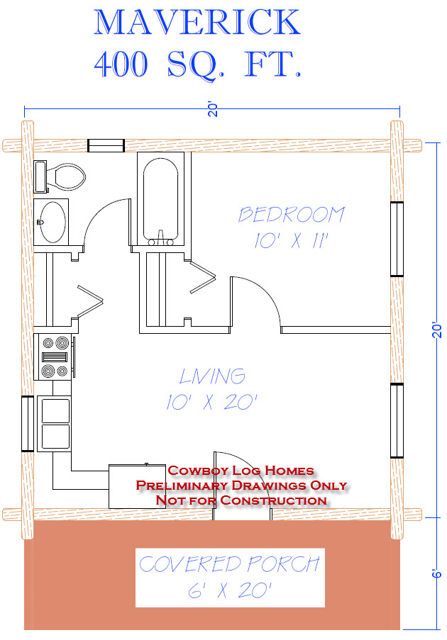 Maverick plan 400 sq ft cowboy log homes for Cost to build a 576 sq ft house