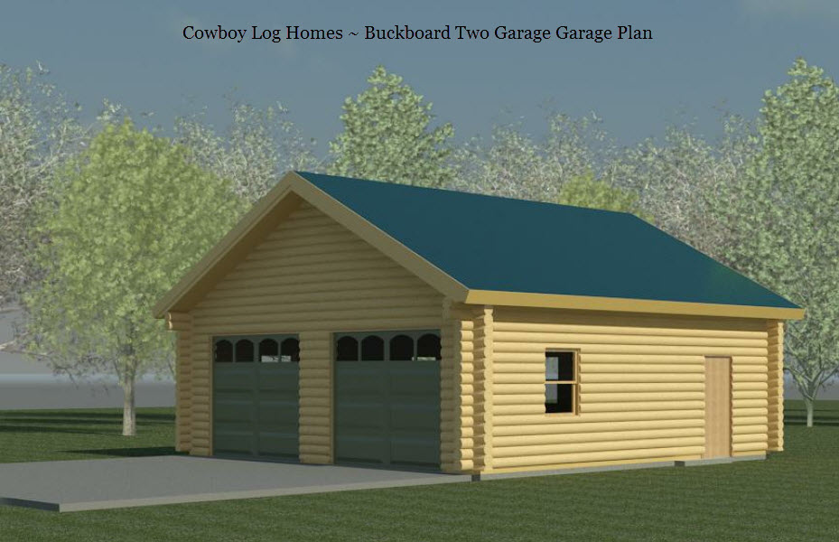Buckboard 2 car log garage plan cowboy log homes for Multi car garage