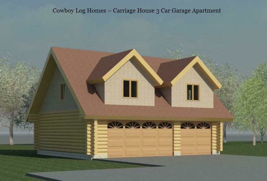 Carriage house three car log garage cowboy log homes for Log garage plans