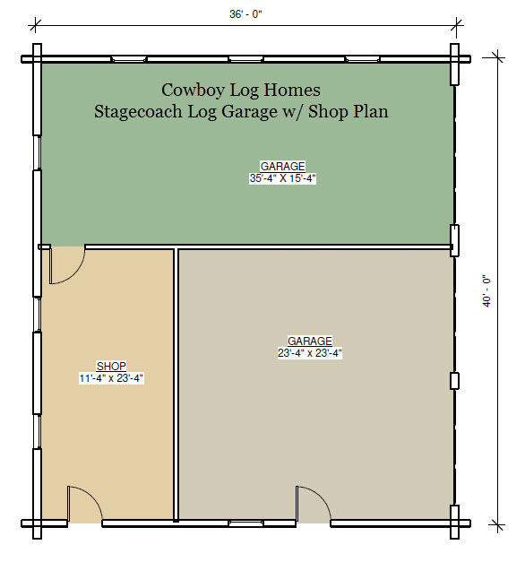 stagecoach log garage floor plan